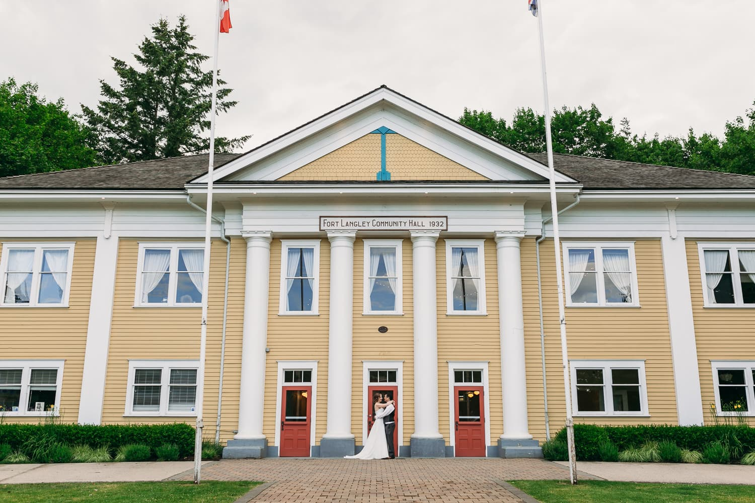 wedding couple at fort langley community hall