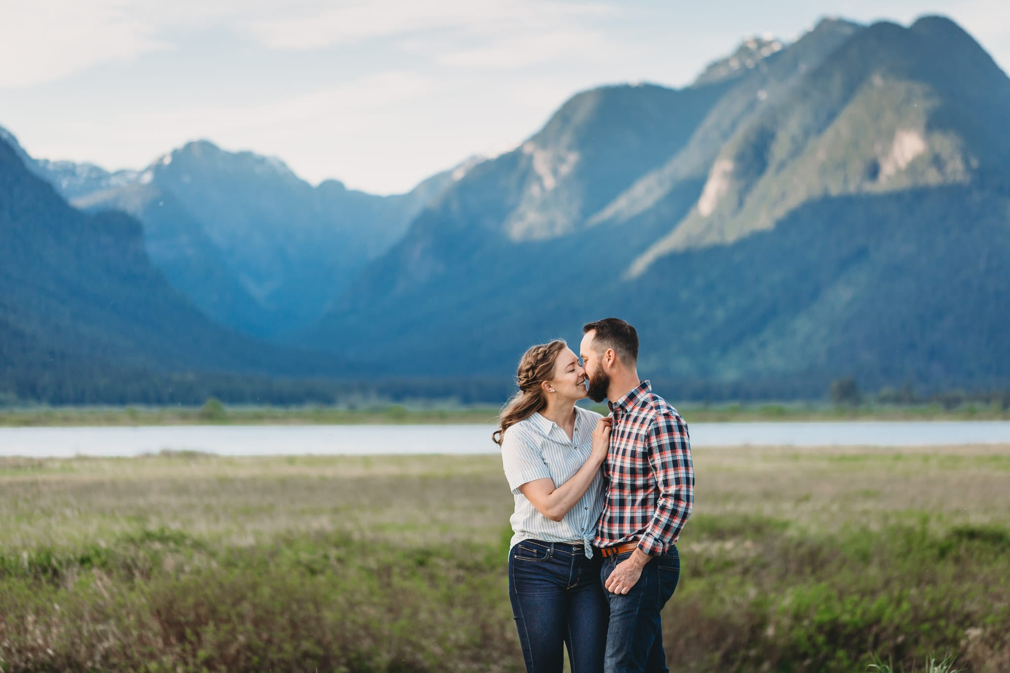 pitt lake couples session with mountain backdrop