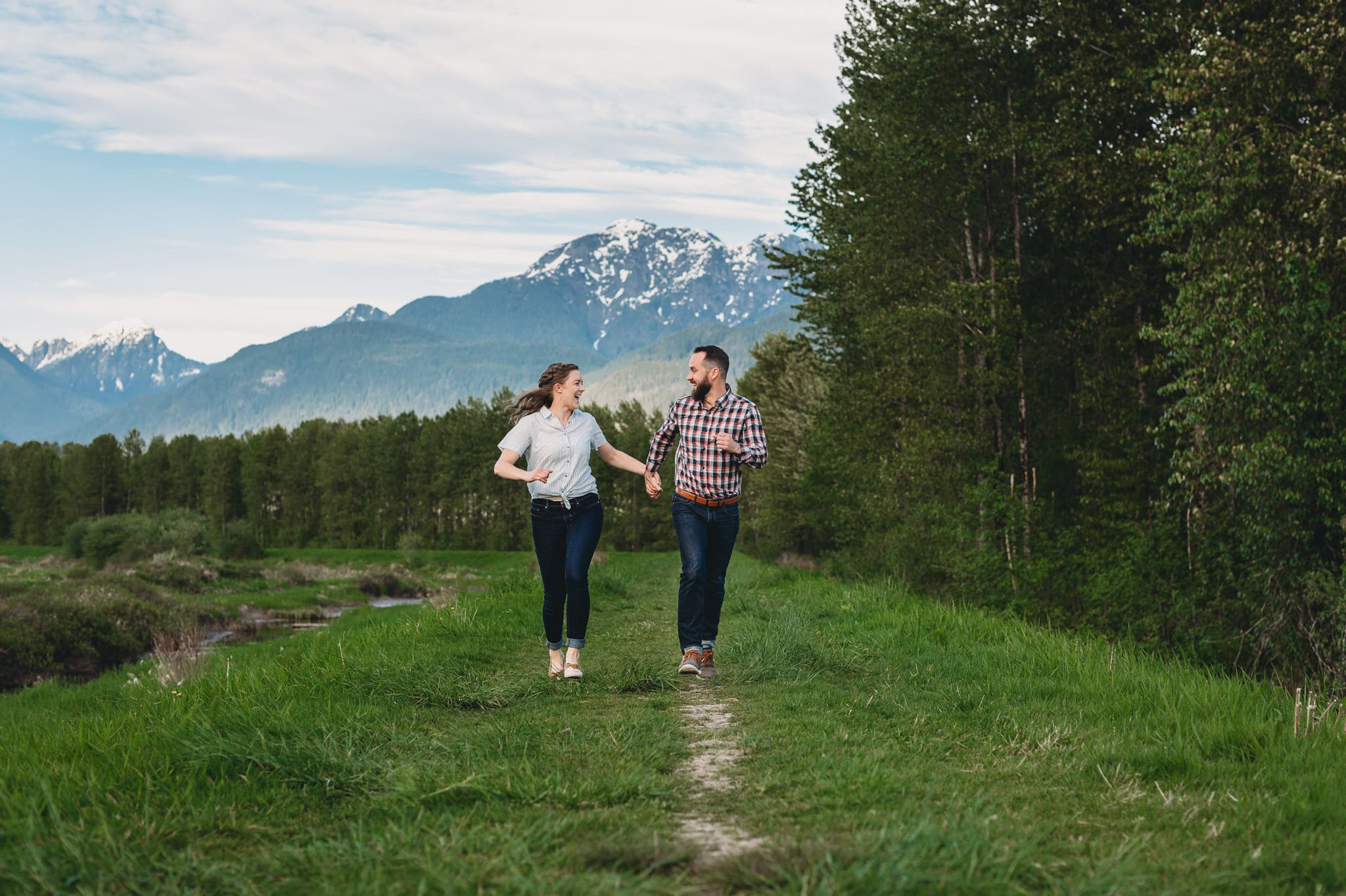 fun and casual couples session at pitt lake in pitt meadows