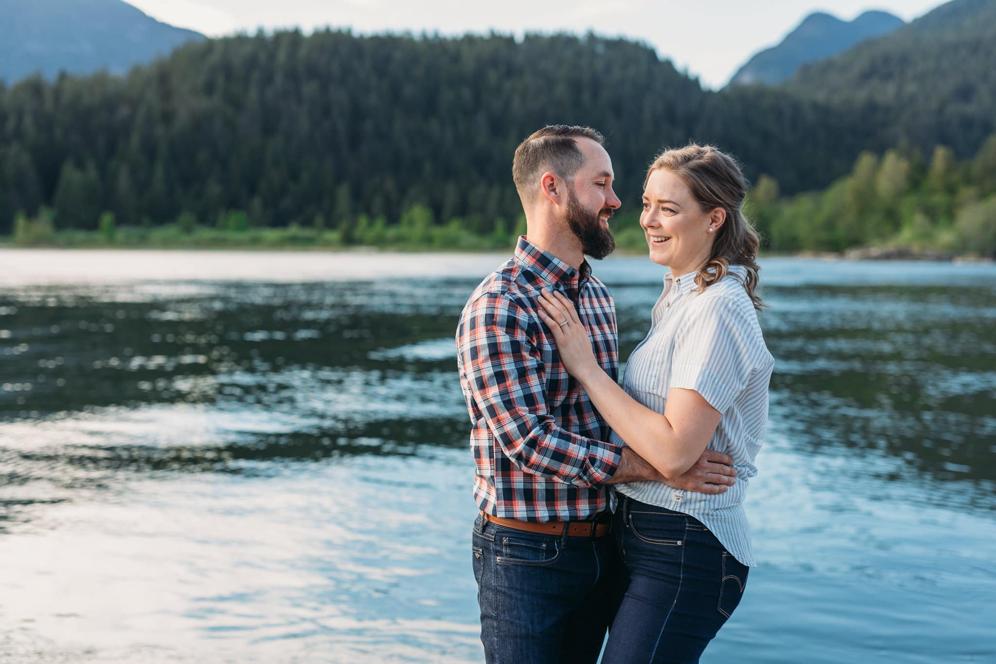 engagement session couple at pitt lake boat launch in pitt meadows